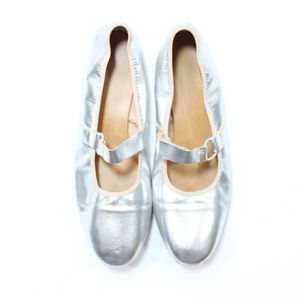 VTG 60s Mod Silver Space Age Mary Jane Flats